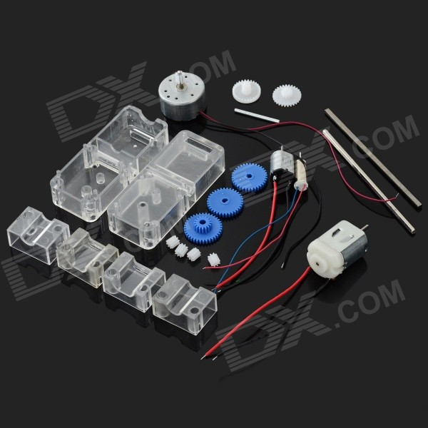 DIY Accessories Motor + Gear Reduction Gearbox Set for R/C Toy - Transparent + Silver + Multi-Color - DXOther Accessories<br>300 Motor parameter: Voltage range: 1.5V~9V; Rated voltage: 3.0V; Unloaded speed: 2600rmp; Unloaded current: 0.03A; Max. speed: 1730rmp; Max. current: 0.07A; Max. moment: 0.39mN.m; Max. torque: 4.0g.m; Max. power: 0.07W; starting moment: 0.98mN.m; starting torque: 10g.cm; Startibg current: 0.17A. - 130 Motor parameter: Voltage range: 1V~6V; Rated voltage: 3V; Reference current: 0.35~0.4A; 3V Speed: 17000?18000rmp; 3V no-load current: 350A; 3V wall mount current: 1.3A; Shaft diameter: 2mm; Shaft length: 9mm; Weight: 14.24g. - N20 Motor parameter: Voltage range: 1.5V~4.5V; Rated voltage: 3V; 3V Speed: 3000?6000rmp; 3V current: 0.021A; Shaft diameter: 1mm; Shaft length: 10mm. - 716 Hollow cup parameter: Voltage range: 3.3V~5V; Rated voltage: 3.4V; Current: 800mA; Rated speed: 34000rmp; Max. speed: 50000rmp; Shaft diameter: 0.8mm; Shaft length: 7mm.<br>