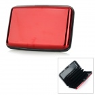 ABS + Aluminum Alloy Business Name Card Holder Case - Dark Red + Black
