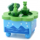 Cute Frog Clockwork Spring Music Box - Green + Blue + Multi-Color