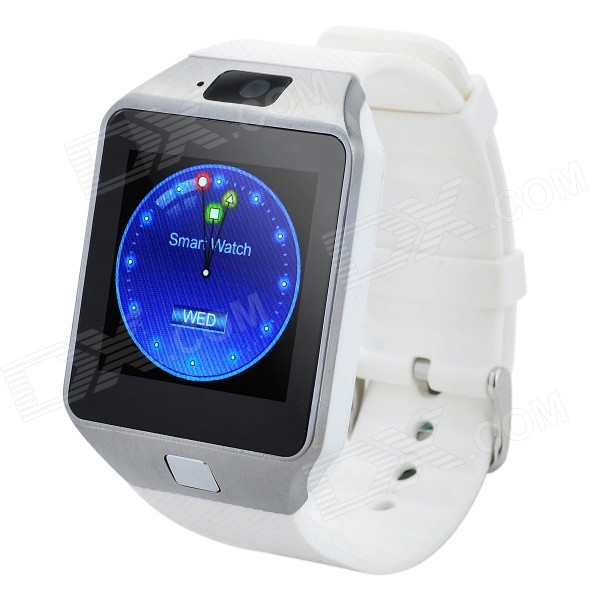 DZ09 1.56 TFT LCD Screen GSM Smart Watch Phone w/ Bluetooth / Quad-band / GPS / FM - White i5 gsm wrist watch phone w 1 8 resistive screen quad band single sim and fm black