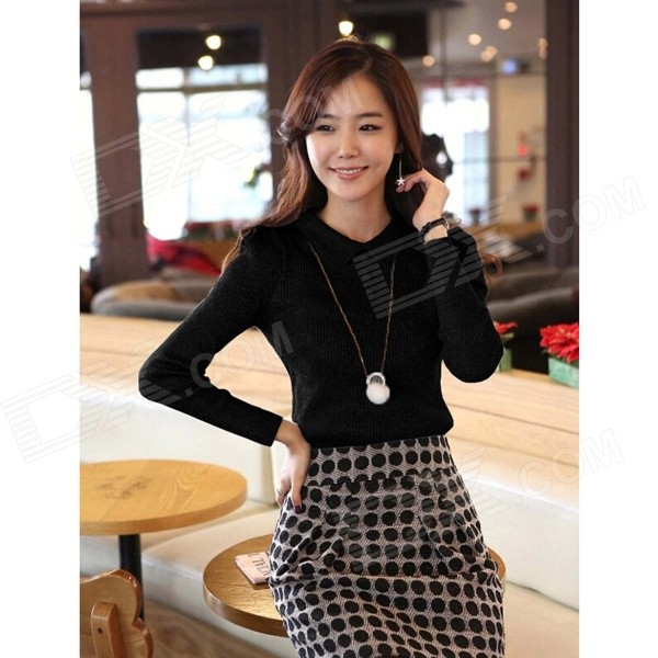 Women's Long Sleeves Render Knit Elastic Unlined Upper Garment - Black
