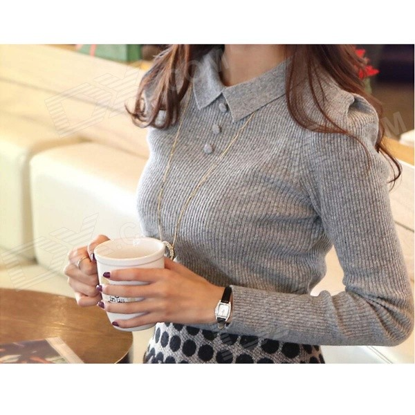 Women's Long Sleeves Render Knit Elastic Unlined Upper Garment - Grey