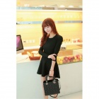 Women's Casual Round Neck Long Sleeves Knitting Elastic Dress - Black