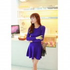 Women's Casual Round Neck Long Sleeves Knitting Elastic Dress - Deep Blue