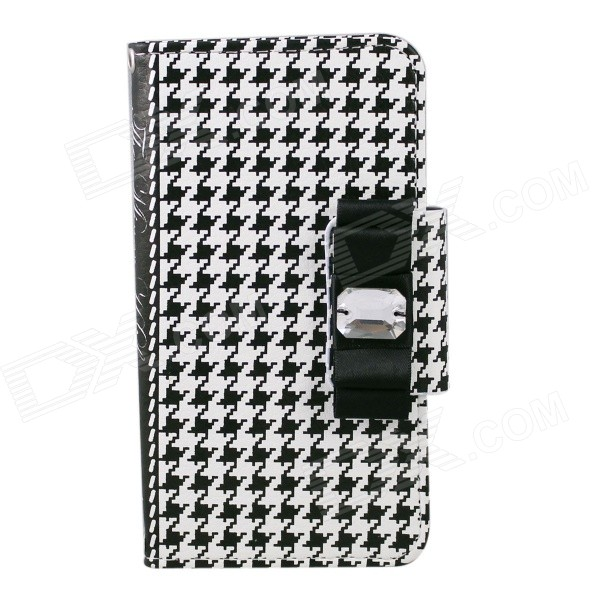 Houndtooth Pattern PU Flip Open Case w/ Strap for IPHONE 6 4.7  - White + Black - DXLeather Cases<br>Color White + Black + Multi-Colored Model N/A Quantity 1 Set Material PU Compatible Models IPHONE 6 Style Flip Open Design Mixed ColorCard Slot Auto Wake-up / Sleep No Packing List 1 x PU sace 2 x Lanyards (35cm)<br>