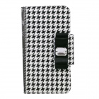 "Houndtooth Pattern PU Flip Open Case w/ Strap for IPHONE 6 4.7 "" - White + Black"