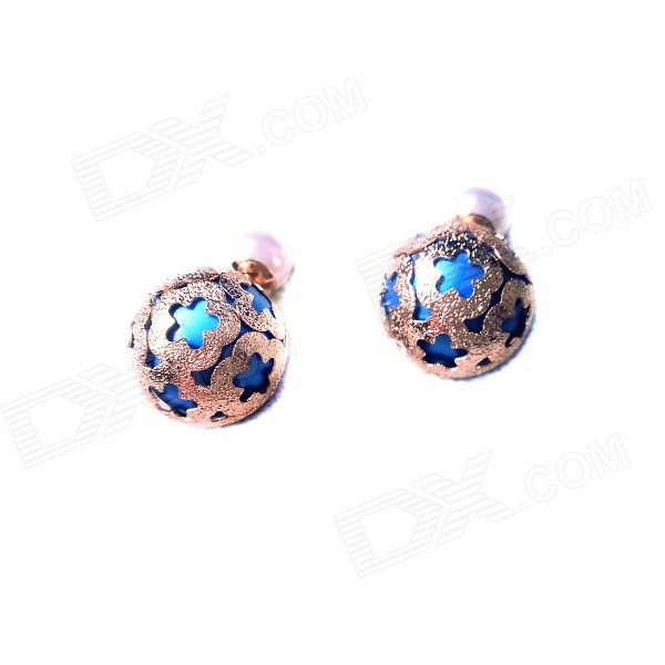 E031 Women's Fashion Acrylic Bead Style Earrings - Blue + Silver (Pair) colors fashion metal acrylic earrings color assorted 5 pair pack