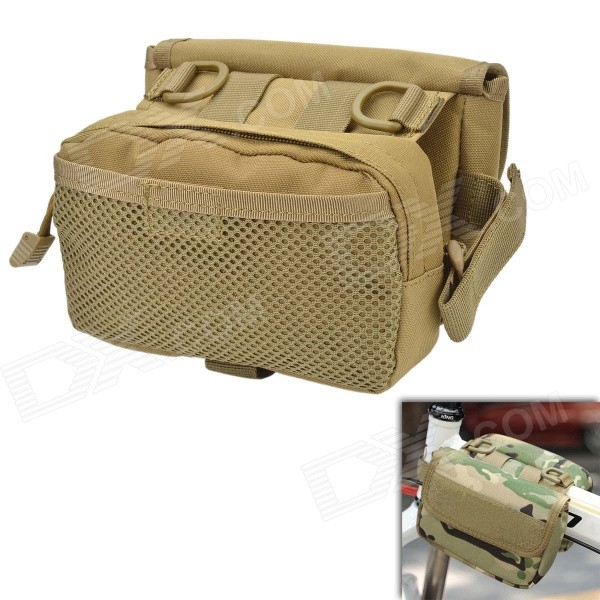 Фото D28 600D Nylon Water-resistant Bike Bicycle Top Tube Saddle Bag - Tan mymei outdoor 90db ring alarm loud horn aluminum bicycle bike safety handlebar bell
