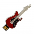 UD002 .16 Zinc Alloy Electric Guitar Style USB 2.0 Flash Disk  - Red + Silver + Black (16GB)