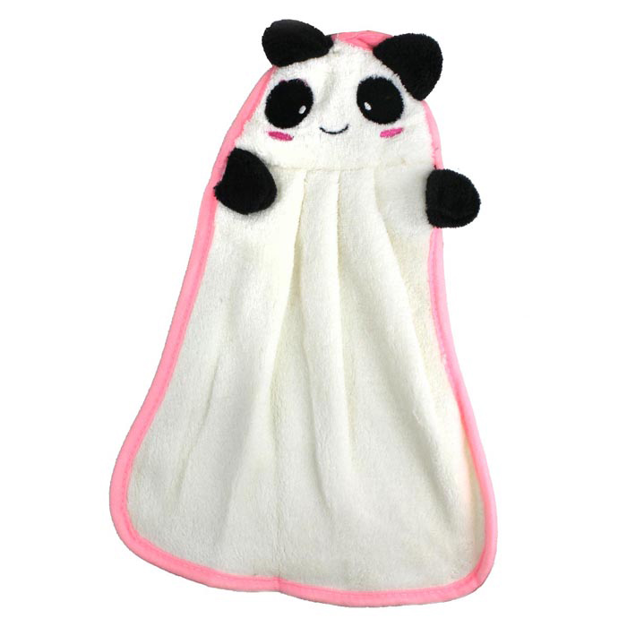 Cute Panda Detail Water Absorption Cotton Towel - Black + White studio m new blue solid women s size large l maxi asymmetrical skirt $78 375