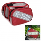 B-soul YA161 Bike Top Tube Oxford + PVC Saddle Bag w/ Cellphone Protective Pouch Case - Red