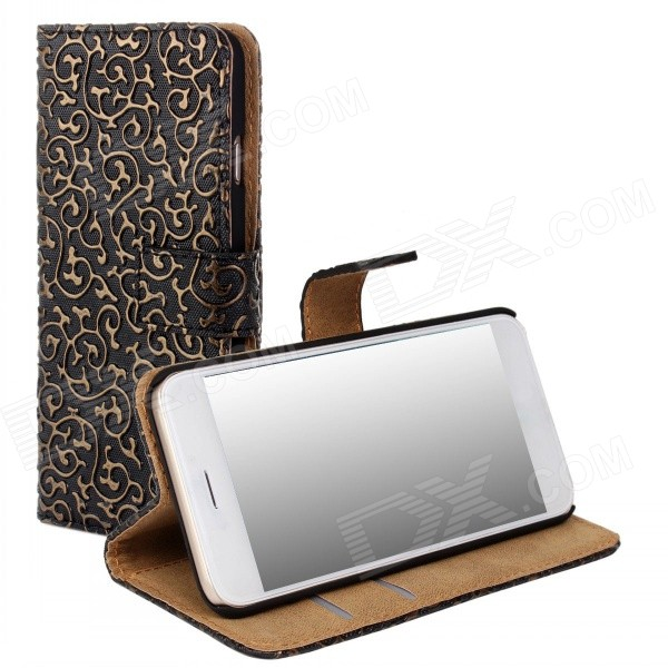 WB-I6PU Stylish Protective Flip-open PC + PU Leather Case w/ Stand / Card Slots for IPHONE 6 - Black