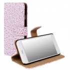 WB-I6PU Stylish Protective Flip-open PC + PU Leather Case w/ Stand / Card Slots for IPHONE 6 - Pink