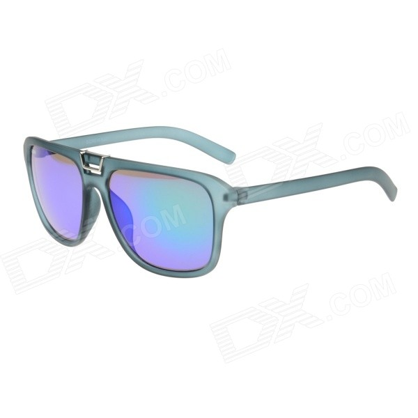 Retro Style Plastic Frame Green REVO PC Lens UV400 Protection Sunglasses - Translucent Gray Green