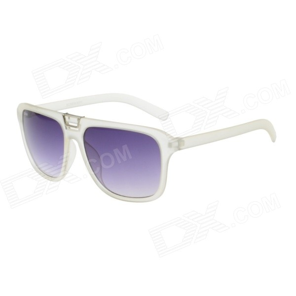 Retro Stylish Plastic Frame PC Lens UV400 Protection Sunglasses - Transparent White + Silver + Grey