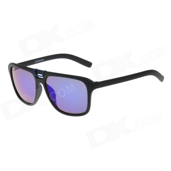 Retro Stylish Plastic Frame PC Lens UV400 Protection Sunglasses - Black + Blue + Blue REVO