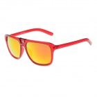 Retro Stylish Plastic Frame PC Lens UV400 Protection Sunglasses - Transparent Red + Red REVO