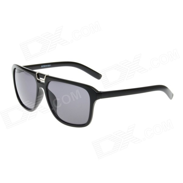 Retro Stylish Plastic Frame PC Lens UV400 Protection Sunglasses - Black + Silver + Grey