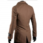 WS7543 Autumn and Winter Wear British Style Fashionable Slim Double-breasted Coat - Brown (L)