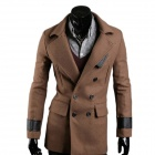 WS7543 Autumn and Winter Wear British Style Fashionable Slim Double-breasted Coat - Brown (XL)