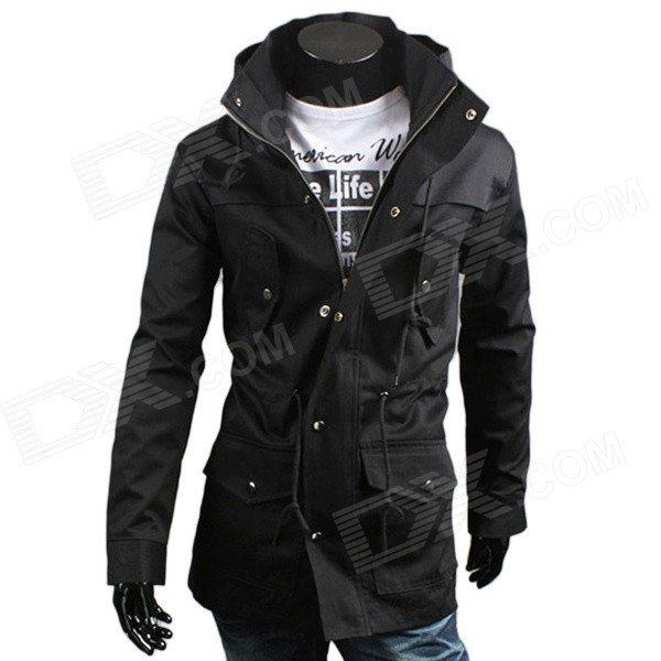 WS714 Men's Korean Style Fashionable Stand Collar Zipper Jacket - Black (Size L)