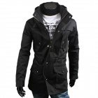 WS714 Men's Korean Style Fashionable Stand Collar Zipper Jacket - Black (Size XL)