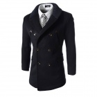 WS755 Autumn and Winter Wear Threaded Collar Double-Breasted Slim Coat - Navy Blue (L)