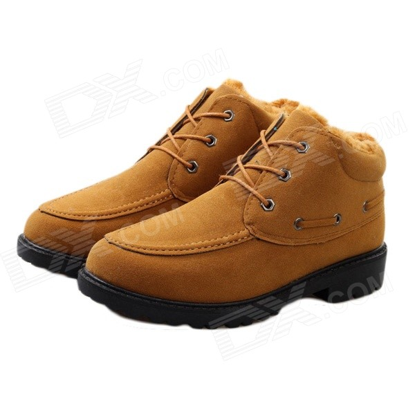 NT00015-4 Men's Winter Fashionable Velvet-like Warm Martin Boots - Yellow (Pair / Size 43)