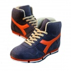 NT00018-4 Men's Fashionable Casual Nubuck Leather High Shoes Sneakers - Blue (43)