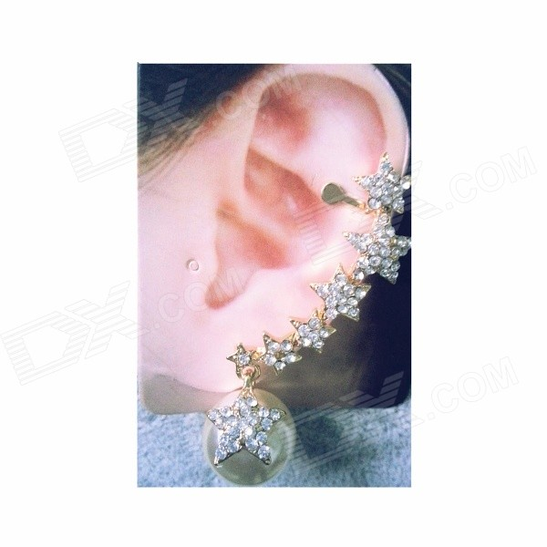 Women's Fashionable Star Style Rhinestone Inlaid Clip-on Earring Ear Clip - Silver + Gold guleek 60w type h 4200lm 6000k 6 led white flood spot light worklight bar for car boat