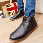 NT00022-4 Men's Winter Fashionable Plush Lining Warm Martin Ankle Boots - Black (Pair / Size 43)