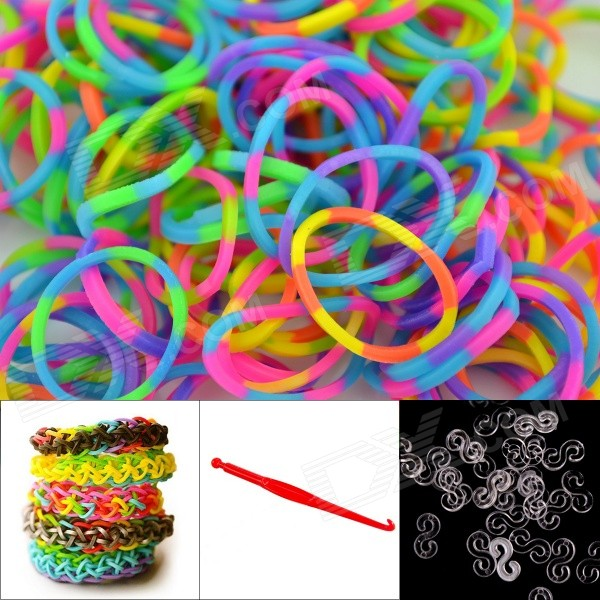 DIY Elastic Silicone Rainbow Bands + S Hooks Set for Children - Multicolored 8004 12 in 1 kid s bathing non toxic vinyl squeaky toys set multicolored