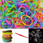 "DIY Elastic Silicone Rainbow Bands + ""S"" Hooks Set for Children - Multicolored"