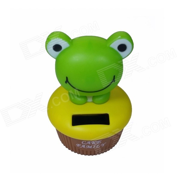 0.5W ABS + Solar Head Shaking Frog Toy - Green + Yellow + Brown
