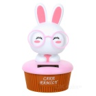 0.5W ABS + Solar Head Shaking Rabbit Toy - White + Pink + Yellow
