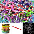 "DIY Elastic Silicone Rainbow Bands + ""S"" Hooks Set for Children - White + Multicolored"
