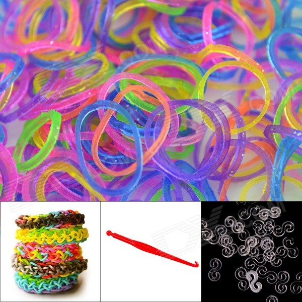 DIY Looms Elastic Silicone Rainbow Bands + S Hooks Set for Children - Green + Multicolored 8004 12 in 1 kid s bathing non toxic vinyl squeaky toys set multicolored