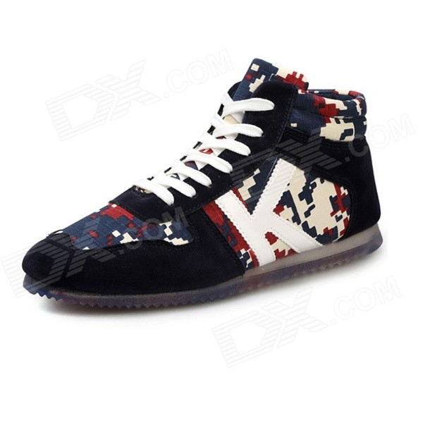 Men's Autumn & Winter New Casual Nubuck Leather + Canvas High Board Shoes Sneakers - Black (43)