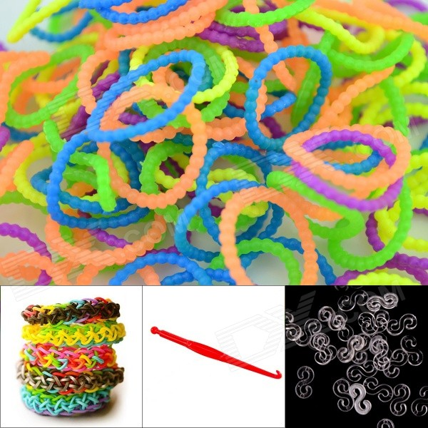 DIY Elastic Silicone Rainbow Bands + S Hooks Set for Children - Bead Multicolored 8004 12 in 1 kid s bathing non toxic vinyl squeaky toys set multicolored