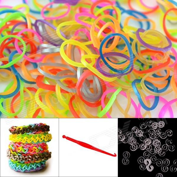 DIY Elastic Silicone Rainbow Bands + S Hooks Set for Children - Metal Multicolored 8004 12 in 1 kid s bathing non toxic vinyl squeaky toys set multicolored