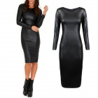XEFS-X915 Women's Sexy Slim Long-sleeved PU Leather Midi Dress - Black (Size L)