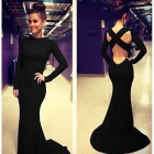 BBE-KF033 Women's Stylish Slim Cross Backless Long-sleeved Party Evening Maxi Dress - Black (Size L)