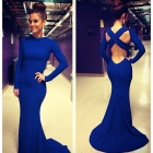 BBE-KF033 Women's Stylish Slim Cross Backless Long-sleeved Party Evening Maxi Dress - Blue (Size L)