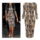 Women's Stylish Slim Sexy Leopard Midi Pencil Dress - Brown + Black (Size M)