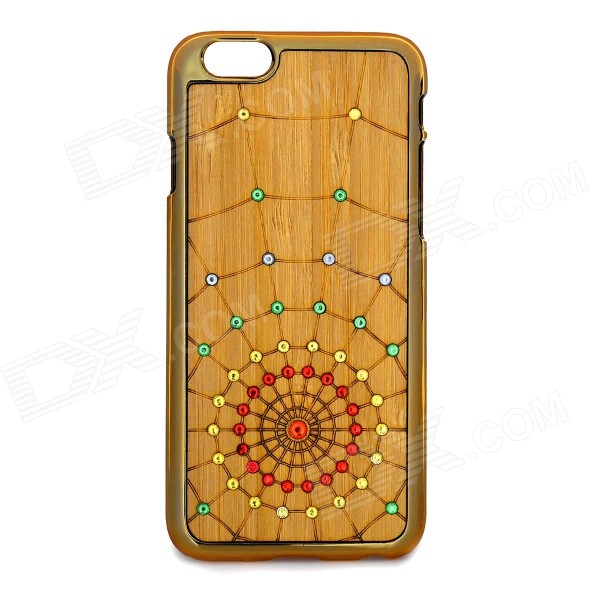 Cobweb Pattern Protective Plastic + Wood Back Case for IPHONE 6 - Golden + Multicolored - DXPlastic Cases<br>Decorated w/ rhinestones fine and elegant<br>