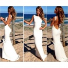 BBD-KFJ032 Women's Stylish Sexy Slim Party Evening Maxi Dress - White (Size L)