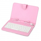 "USB Wired Keyboard + PU Full Body Stand Case w/ Stylus / OTG Function for 7"" Tablet PC - Pink"