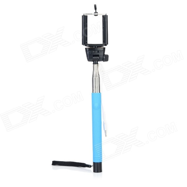 Z07-5Plus Universal Selfie Retractable Monopod w/ 3.5mm Plug + Adjustable Holder - Blue + Black
