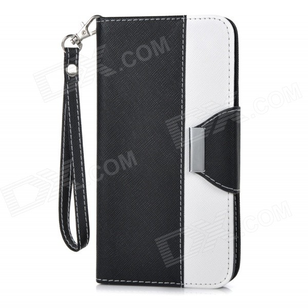 Protective Flip-Open PU Case Cover w/ Card Slot / Stand / Strap for IPHONE 6 PLUS - White + Black protective flip open pu case cover w card slot stand strap for iphone 6 plus white black