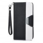 Protective Flip-Open PU Case Cover w/ Card Slot / Stand / Strap for IPHONE 6 PLUS - White + Black